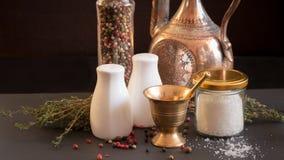 Concept des accessoires de sel et de poivre Photos libres de droits