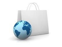 Concept des achats réels et en ligne illustration libre de droits
