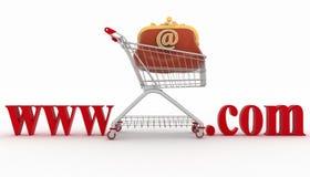 Concept des achats sur les sites Web du message publicitaire Image stock