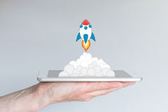 Concept des affaires d'informatique mobile ou de la stratégie réussies, e G pour le développement ou les démarrages d'entreprise  Images libres de droits