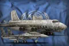 Concept des Armées de l'Air des Nations Unies sur le fond de drapeau d'état illustration 3D Photo libre de droits