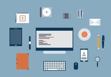 Concept des articles et des éléments de déroulement des opérations d'affaires illustration libre de droits