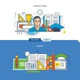 Concept des cours de formation et des exercices, étude d'emploi illustration de vecteur