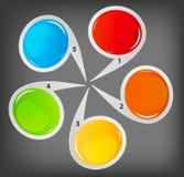 Concept des drapeaux circulaires colorés pour différent Photo stock