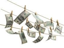 Concept des factures d'argent du dollar de blanchiment d'argent Images libres de droits