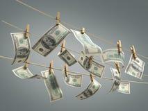 Concept des factures d'argent du dollar de blanchiment d'argent sur l'ender du roupe 3d Photo stock
