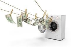 Concept des factures d'argent du dollar de blanchiment d'argent sur le roupe Images stock