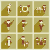 Concept des icônes plates avec de longs employés de bureau d'ombre Photographie stock libre de droits
