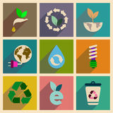 Concept des icônes plates avec la longue écologie d'ombre Image stock