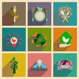 Concept des icônes plates avec la longue écologie d'ombre Images stock