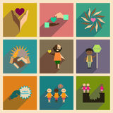Concept des icônes plates avec la longue ombre aucun racisme Photos libres de droits