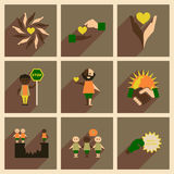 Concept des icônes plates avec la longue ombre aucun racisme Photo libre de droits