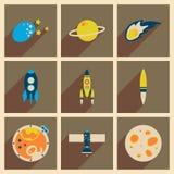 Concept des icônes plates avec le long espace d'ombre Photo libre de droits