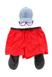 Concept des lunettes d'habillement et de plongeur, se préparant au repos, d'isolement sur le blanc Photo stock
