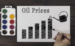 Concept des prix d'affaires Main avec un diagramme de peinture de brosse avec la boîte d'arrosage symbolisant la croissance des p photos libres de droits