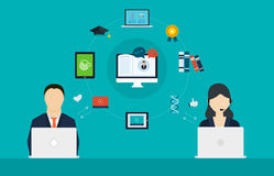 Concept des services de conseil et d'apprentissage en ligne Photo stock