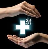 Concept des soins médicaux 24 heures sur 24 Images libres de droits
