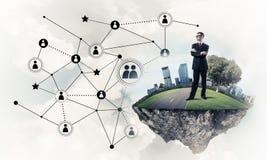 Concept des technologies du sans fil modernes en tant qu'outil efficace pour des Bu illustration libre de droits