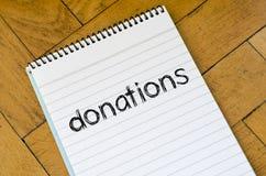 Concept des textes de donations Photographie stock libre de droits