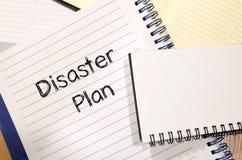 Concept des textes de plan de catastrophe Image stock
