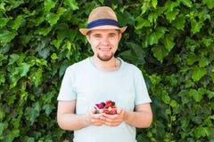 Concept des végétariens, de la nourriture crue et des régimes - la prise belle d'homme porte des fruits et des baies images libres de droits