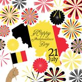Concept design for Belgium independence day. Concept vector design for Belgium independence day with map and abstract fireworks Royalty Free Illustration