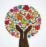 Concept design books tree. Global education concept tree hand books. Vector file layered for easy manipulation and custom coloring Royalty Free Stock Image