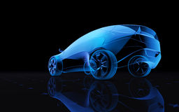 Concept design car. Future blue x-ray concept car, 3d render Royalty Free Stock Photography