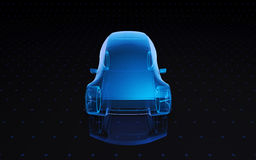 Concept design car. Future blue x-ray concept car, 3d render view front Stock Photos