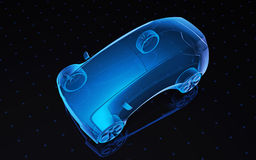Concept design car. Future blue x-ray concept car, 3d render view top Stock Photos