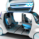 Concept design of the city universal electric vehicle. 3D illustration. Concept design of the city universal electric vehicle. Project of modern transport. 3D stock illustration