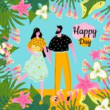 Concept design greeting card with icons of a man with a woman and tropical flowers, leaves. royalty free illustration