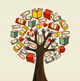 Concept design hand books tree. Global education concept tree hand books. Vector file layered for easy manipulation and custom coloring Royalty Free Stock Photo