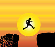 Concept design  illustration art of young fit man jumping from a crumbing mountain rock to another safer rock Royalty Free Stock Photos