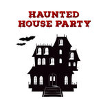 Concept design of the invitation flyer for halloween party. Poster template with haunted house and bloody font Stock Photo