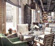 Concept design of modern Restaurant lounge bar `Train Station`. 3D Rendering stock photography
