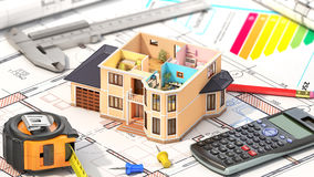 Concept of design. Residential house Royalty Free Stock Image