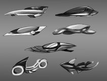 Concept design of sci-fi vehicles sketches. Concept design of sci-fi vehicles black and white silhuette sketches Stock Images