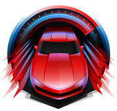 Concept design of Sports car driving fast through Speedometer Stock Photography