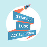 Concept design for start up project with inscription Startup Logo Accelerator Royalty Free Stock Photo