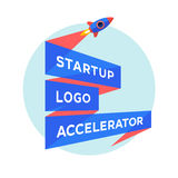 Concept design for startup project with inscription Startup Logo Accelerator Royalty Free Stock Image