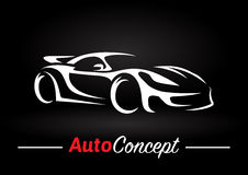 Concept design of a super sports vehicle car silhouette on black background. Original auto motor concept design of a super sports vehicle car silhouette on Royalty Free Stock Photography