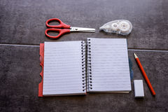 Concept of desire for change. Diary, surrounded correction tape, Stock Images