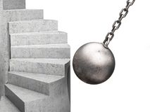 Concept of destruction and the obstacle to success. A destructive ball strikes the ladder. 3D. Illustration Royalty Free Stock Image