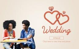 Concept deux Romance de bonheur marié par amour de mariage Image libre de droits