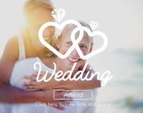 Concept deux Romance de bonheur marié par amour de mariage Images stock