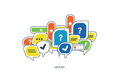 The concept of dialogue, speech bubbles with symbols  communication. Stock Photos
