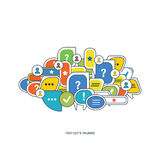 The concept of dialogue, speech bubbles with symbols  communication. Stock Photography