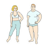 Concept of diet. Fat man and woman on white background. Flat design, vector illustration Stock Photography
