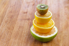 Concept of diet food, healthy nutrition citrus, fruits slices Royalty Free Stock Photography